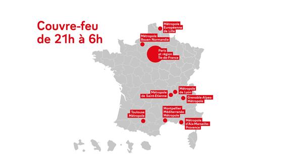 Covid 19 Retablissement De L Etat D Urgence Sanitaire Et Couvre Feu Decrete En Ile De France Et Dans Huit Grandes Metropoles